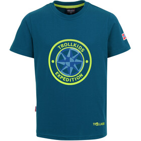 TROLLKIDS Windrose T-shirt Børn, petroleumsgrøn